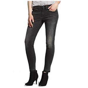 Mossimo Mid-Rise Black Faded Skinny Jeans 8 R 29